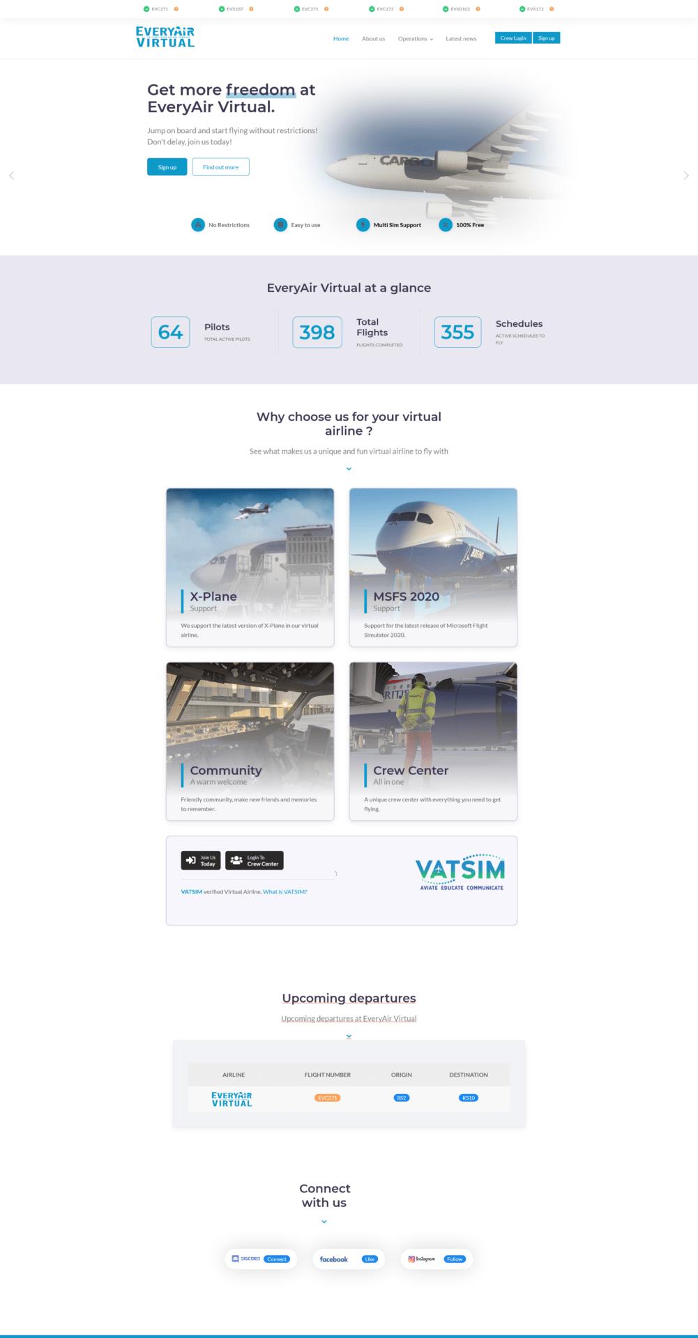 EveryAir Virtual phpVMS Website Design