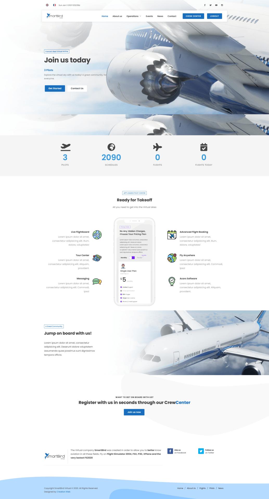 SmartBird Virtual phpVMS Website Design